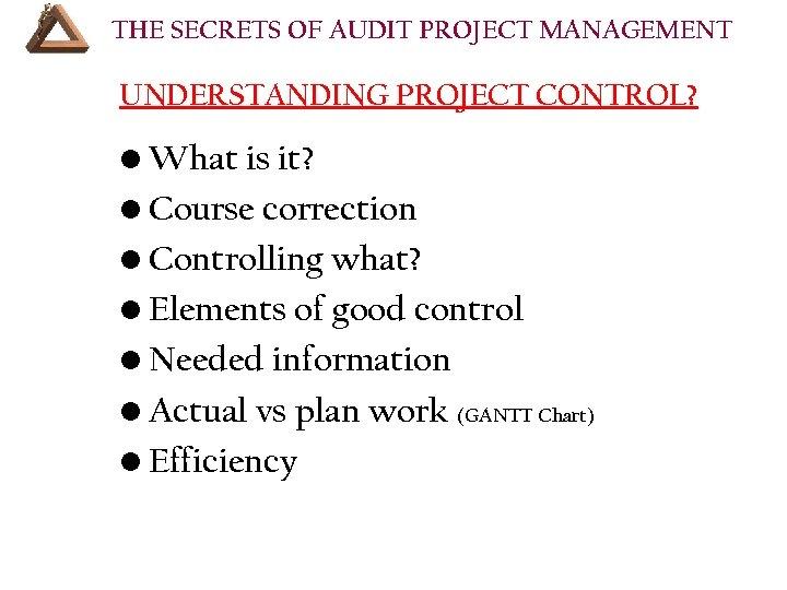 THE SECRETS OF AUDIT PROJECT MANAGEMENT UNDERSTANDING PROJECT CONTROL? • What is it? •