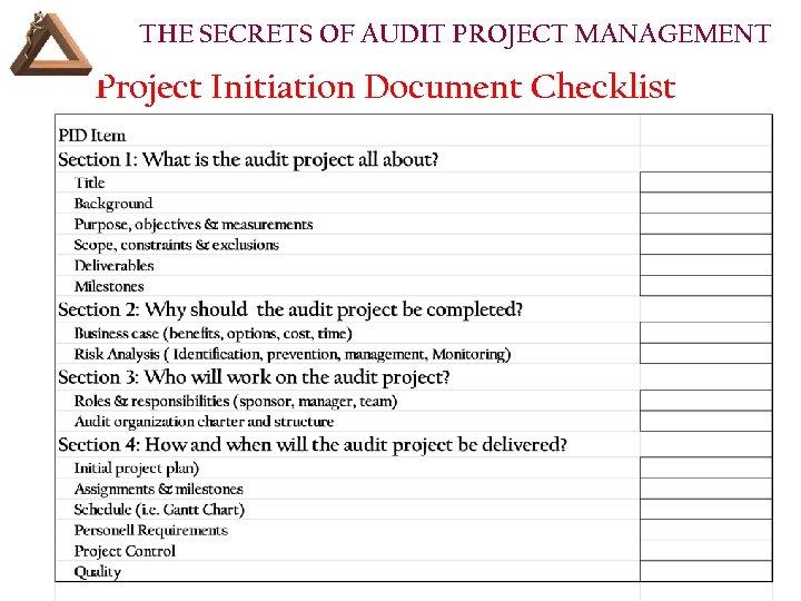 THE SECRETS OF AUDIT PROJECT MANAGEMENT Project Initiation Document Checklist