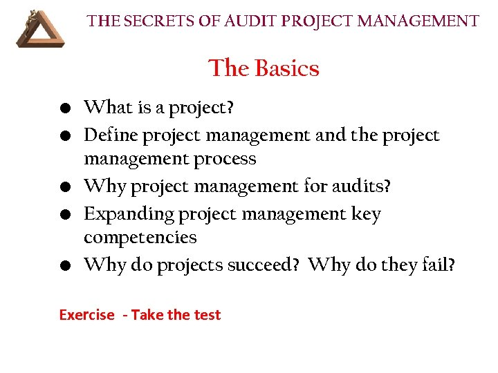 THE SECRETS OF AUDIT PROJECT MANAGEMENT The Basics • What is a project? •
