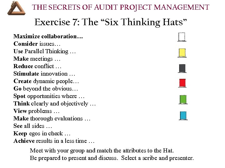 """THE SECRETS OF AUDIT PROJECT MANAGEMENT Exercise 7: The """"Six Thinking Hats"""" Maximize collaboration…"""