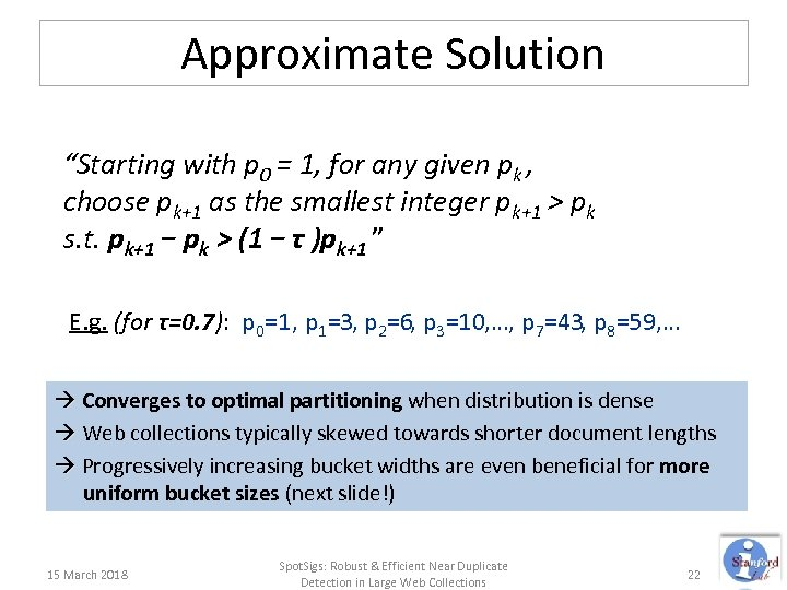 """Approximate Solution """"Starting with p 0 = 1, for any given pk , choose"""