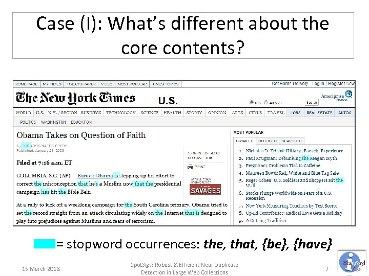Case (I): What's different about the core contents? = stopword occurrences: the, that, {be},