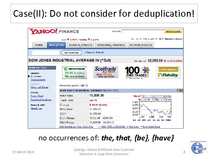 Case(II): Do not consider for deduplication! no occurrences of: the, that, {be}, {have} 15