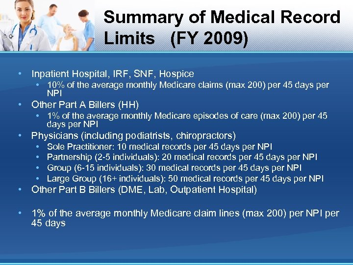 Summary of Medical Record Limits (FY 2009) • Inpatient Hospital, IRF, SNF, Hospice •
