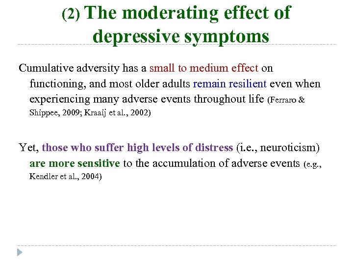 (2) The moderating effect of depressive symptoms Cumulative adversity has a small to medium