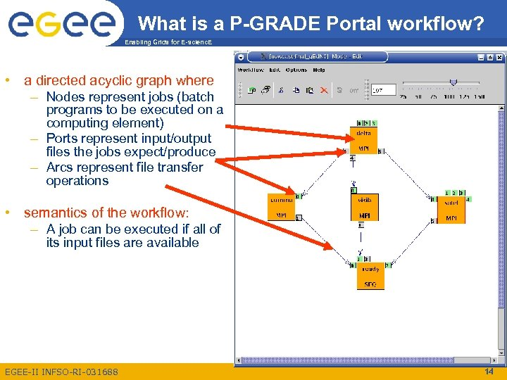 What is a P-GRADE Portal workflow? Enabling Grids for E-scienc. E • a directed