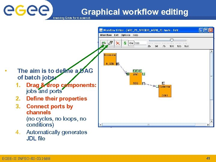 Graphical workflow editing Enabling Grids for E-scienc. E • The aim is to define