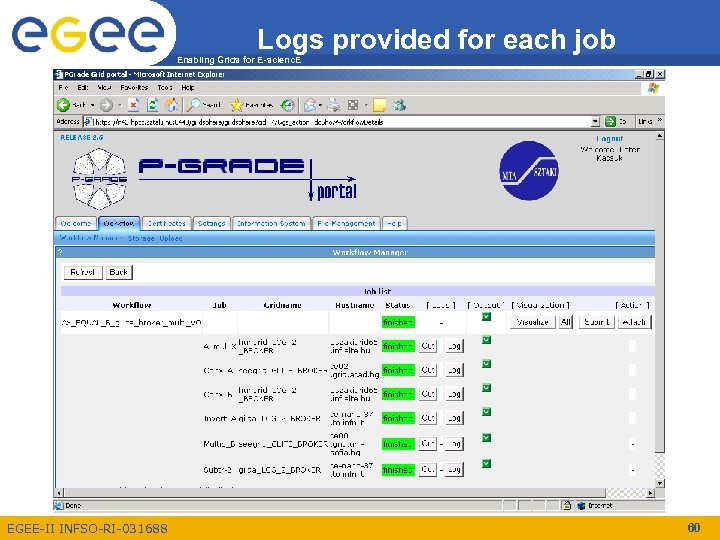 Logs provided for each job Enabling Grids for E-scienc. E EGEE-II INFSO-RI-031688 60