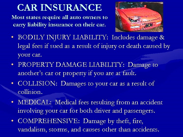 CAR INSURANCE Most states require all auto owners to carry liability insurance on their