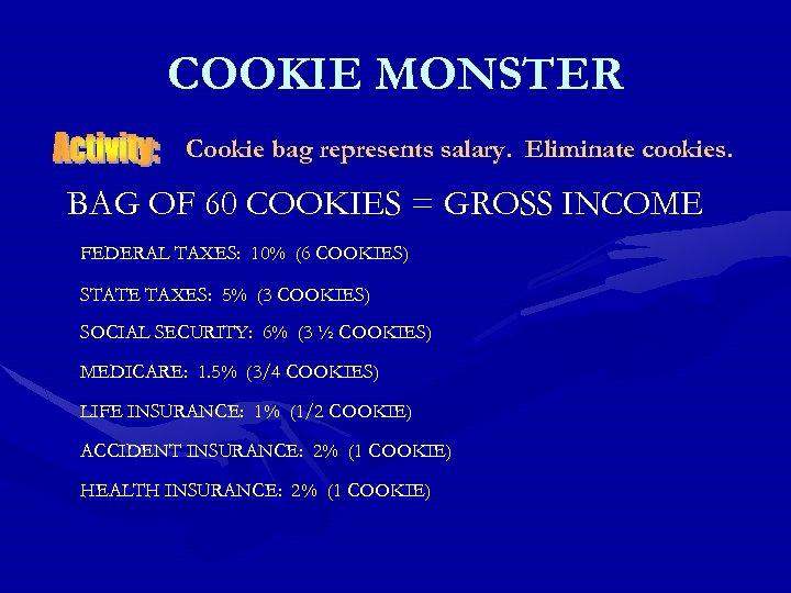 COOKIE MONSTER Cookie bag represents salary. Eliminate cookies. BAG OF 60 COOKIES = GROSS