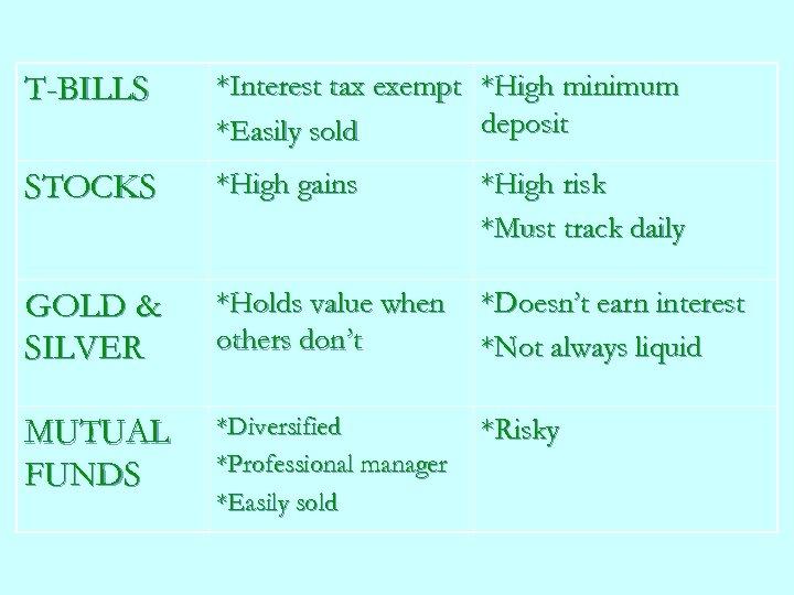 T-BILLS *Interest tax exempt *High minimum deposit *Easily sold STOCKS *High gains *High risk