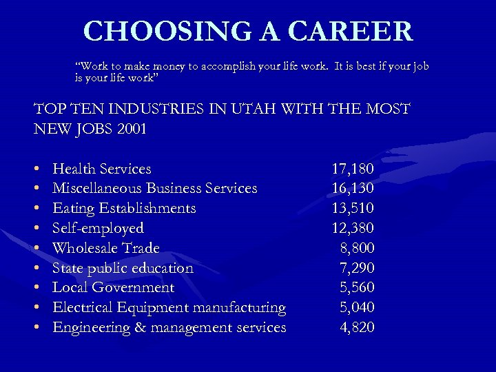 "CHOOSING A CAREER ""Work to make money to accomplish your life work. It is"