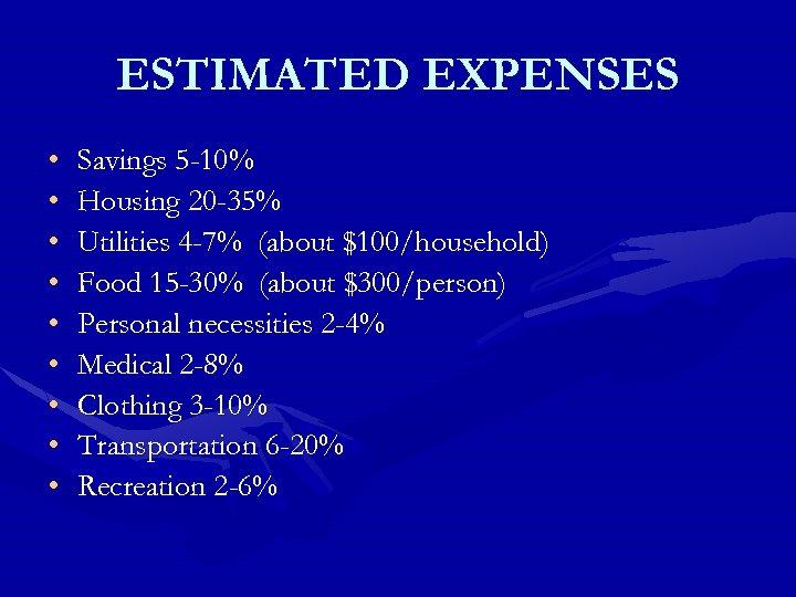 ESTIMATED EXPENSES • • • Savings 5 -10% Housing 20 -35% Utilities 4 -7%
