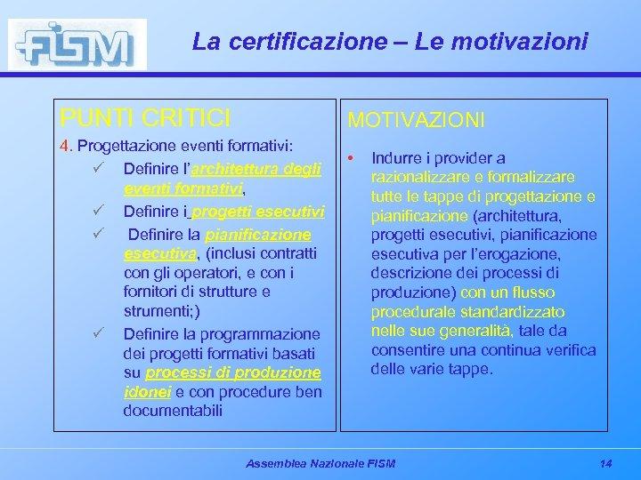 La certificazione – Le motivazioni PUNTI CRITICI MOTIVAZIONI 4. Progettazione eventi formativi: • ü