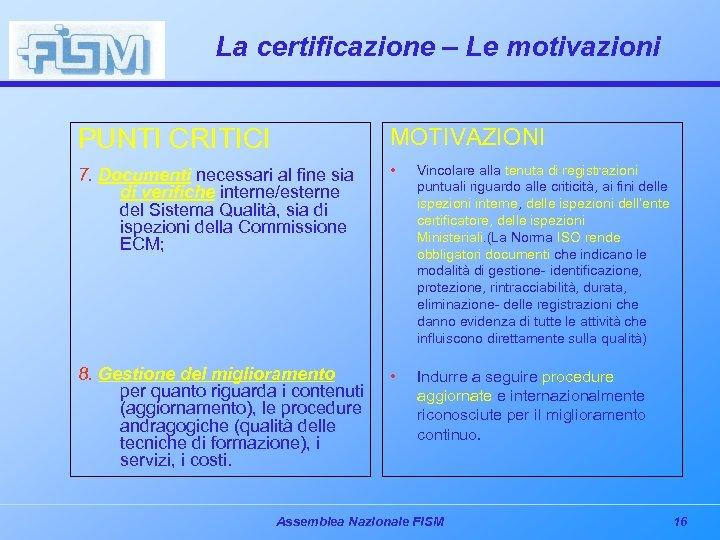 La certificazione – Le motivazioni PUNTI CRITICI MOTIVAZIONI 7. Documenti necessari al fine sia