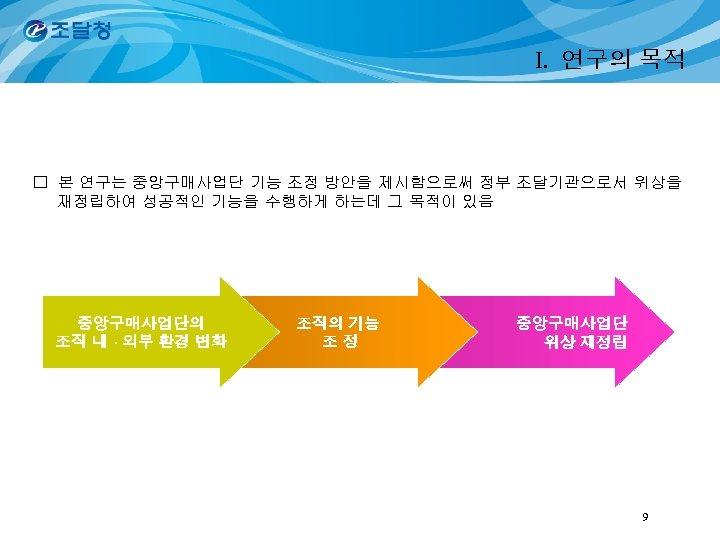 I. 연구의 목적 □ 본 연구는 중앙구매사업단 기능 조정 방안을 제시함으로써 정부 조달기관으로서 위상을