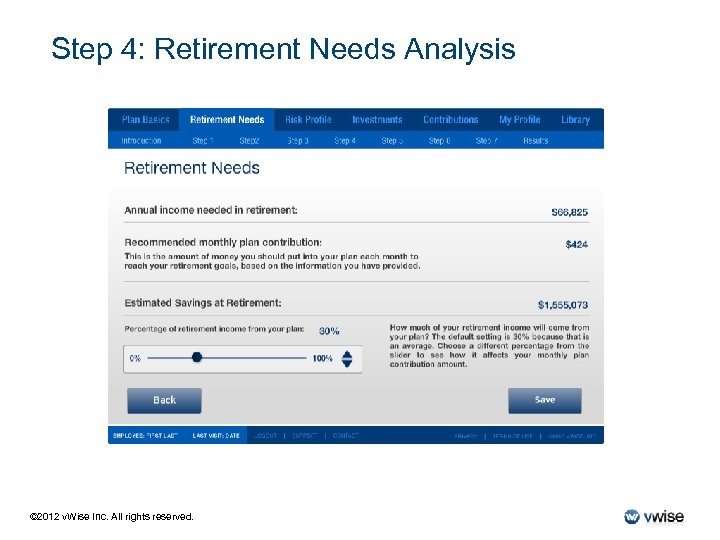 Step 4: Retirement Needs Analysis © 2012 v. Wise Inc. All rights reserved.