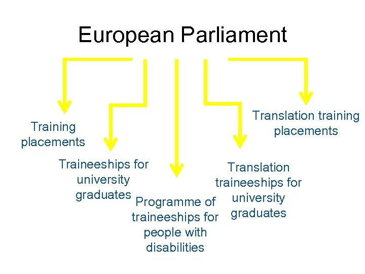 European Parliament Training placements Translation training placements Traineeships for Translation university traineeships for graduates