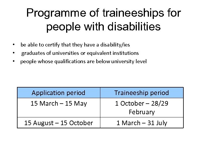 Programme of traineeships for people with disabilities • be able to certify that they