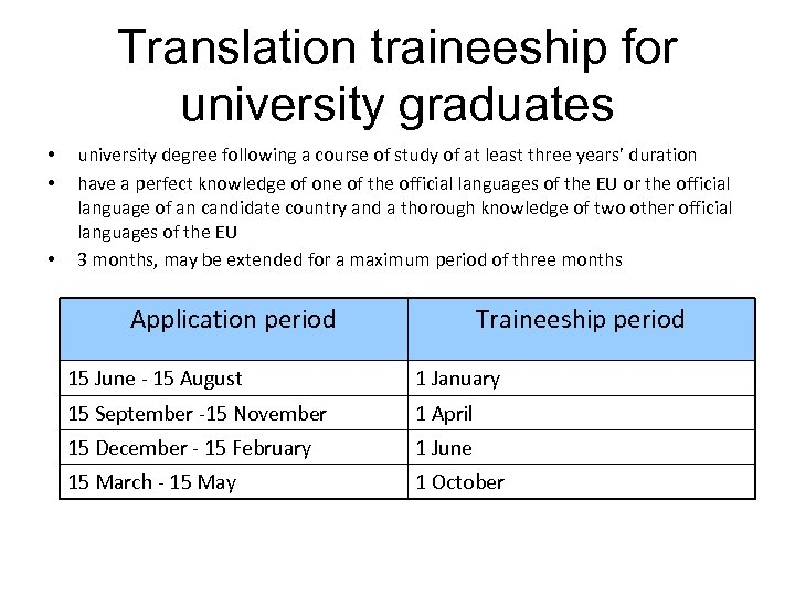 Translation traineeship for university graduates • • • university degree following a course of