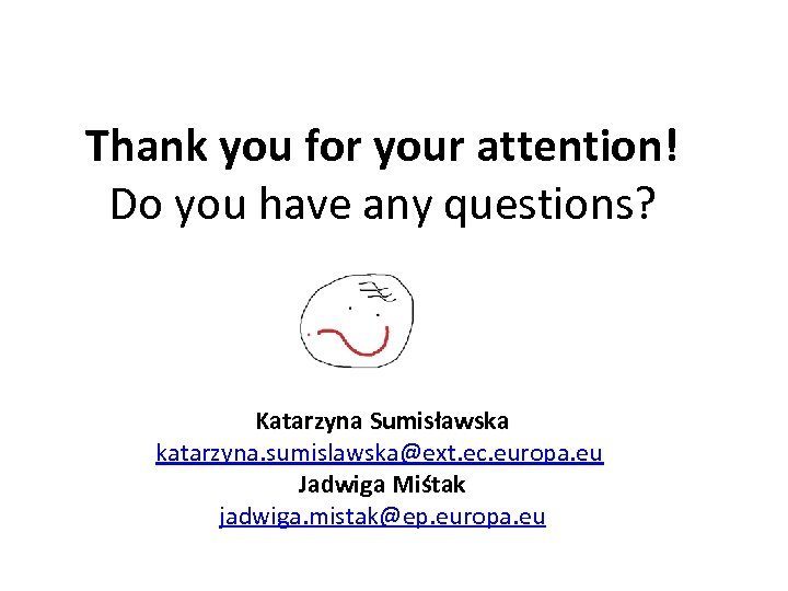Thank you for your attention! Do you have any questions? Katarzyna Sumisławska katarzyna. sumislawska@ext.