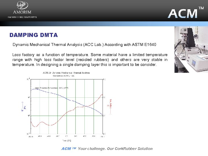 DAMPING DMTA Dynamic Mechanical Thermal Analysis (ACC Lab. ) According with ASTM E 1640