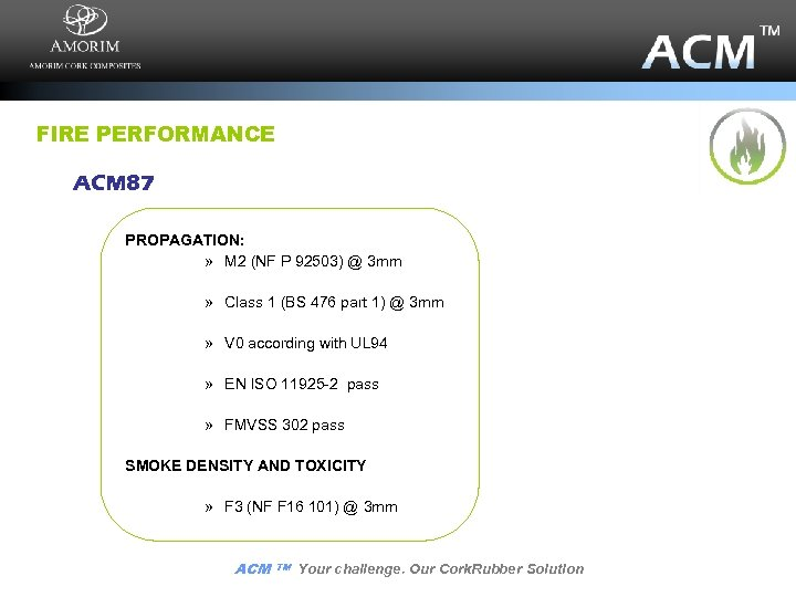 FIRE PERFORMANCE ACM 87 PROPAGATION: » M 2 (NF P 92503) @ 3 mm