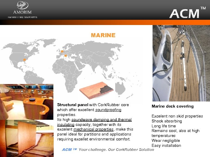MARINE Structural panel with Cork. Rubber core which offer excellent soundproofing properties. Its high