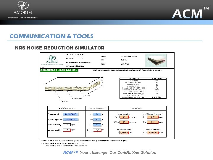 COMMUNICATION & TOOLS NRS NOISE REDUCTION SIMULATOR ACM TM Your challenge. Our Cork. Rubber