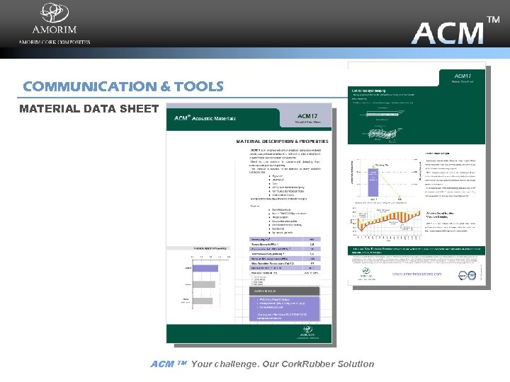 COMMUNICATION & TOOLS MATERIAL DATA SHEET ACM TM Your challenge. Our Cork. Rubber Solution