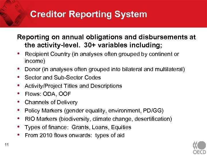 Creditor Reporting System Reporting on annual obligations and disbursements at the activity-level. 30+ variables