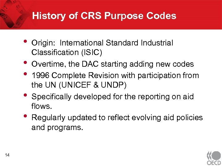 History of CRS Purpose Codes • • • 14 Origin: International Standard Industrial Classification