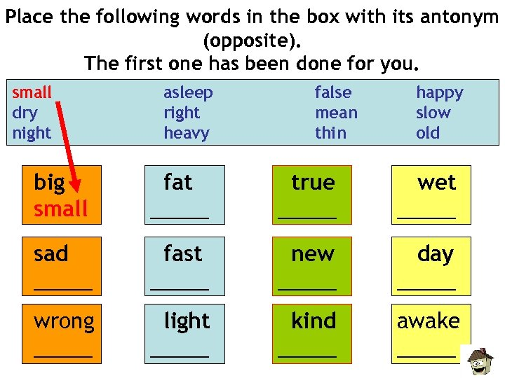 Place the following words in the box with its antonym (opposite). The first one