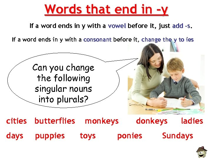 Words that end in -y If a word ends in y with a vowel