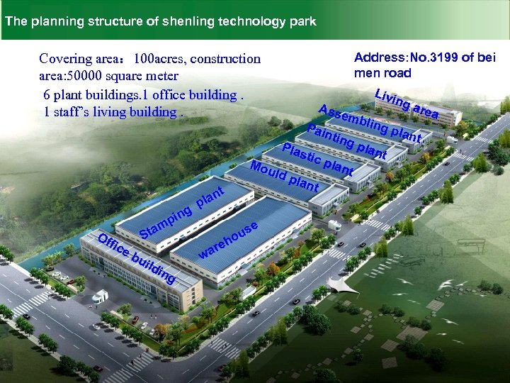 The planning structure of shenling technology park Covering area: 100 acres, construction area: 50000