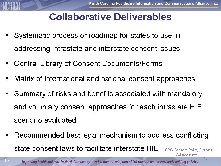 Collaborative Deliverables • Systematic process or roadmap for states to use in addressing intrastate