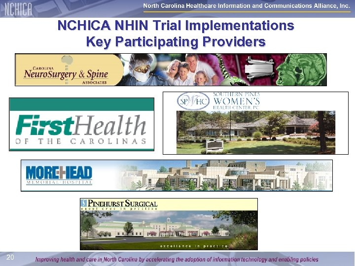 NCHICA NHIN Trial Implementations Key Participating Providers 20