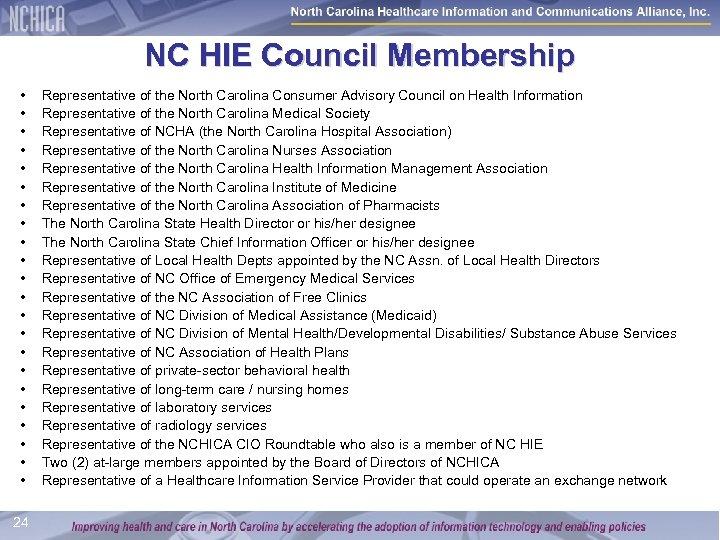 NC HIE Council Membership • • • • • • 24 Representative of the