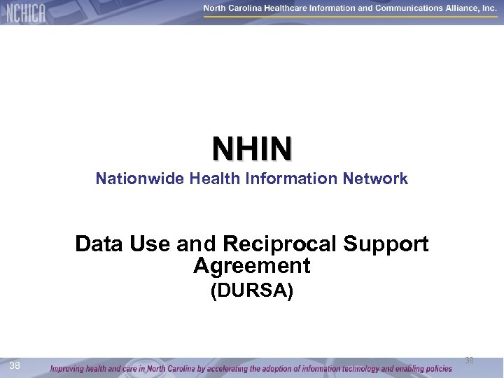NHIN Nationwide Health Information Network Data Use and Reciprocal Support Agreement (DURSA) 38 38