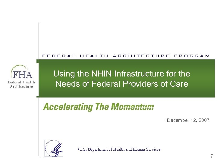 Using the NHIN Infrastructure for the Needs of Federal Providers of Care • December