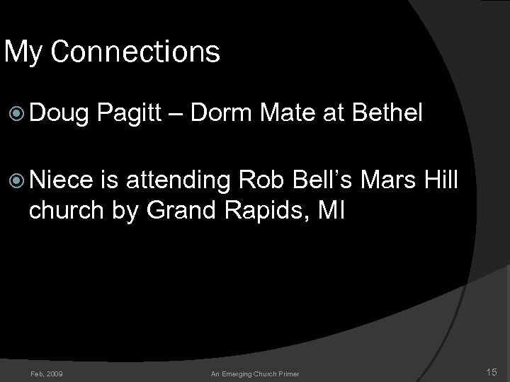 My Connections Doug Pagitt – Dorm Mate at Bethel Niece is attending Rob Bell's