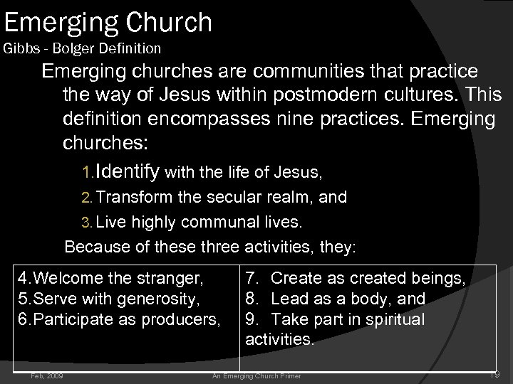 Emerging Church Gibbs - Bolger Definition Emerging churches are communities that practice the way