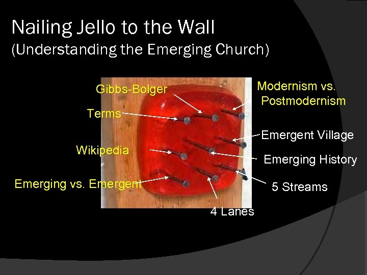 Nailing Jello to the Wall (Understanding the Emerging Church) Modernism vs. Postmodernism Gibbs-Bolger Terms