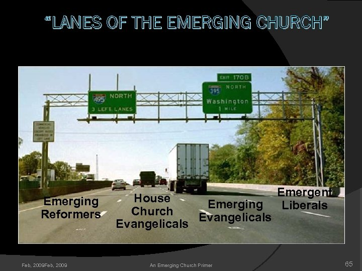 """LANES OF THE EMERGING CHURCH"" Emerging Reformers Feb, 2009 Emergent House Emerging Liberals Church"