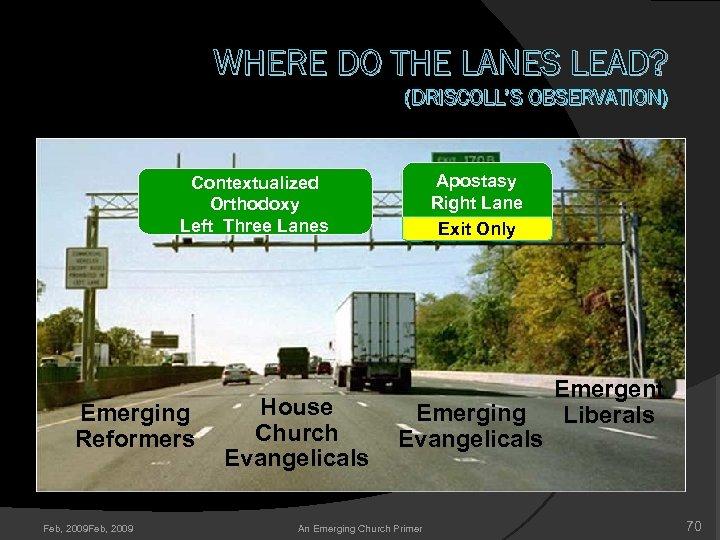 WHERE DO THE LANES LEAD? (DRISCOLL'S OBSERVATION) Apostasy Right Lane Exit Only Contextualized Orthodoxy