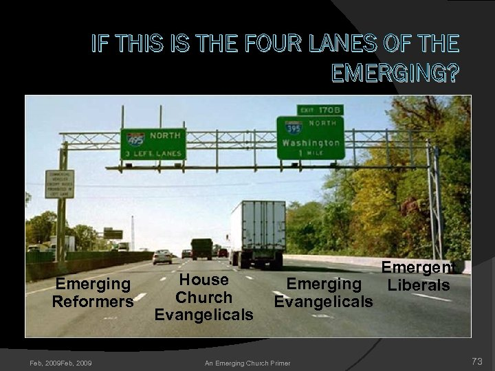 IF THIS IS THE FOUR LANES OF THE EMERGING? Emerging Reformers Feb, 2009 House