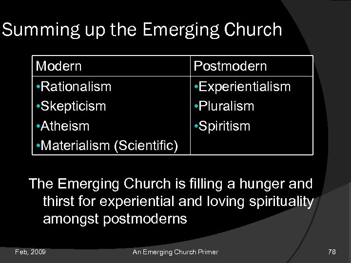 Summing up the Emerging Church Modern • Rationalism • Skepticism • Atheism • Materialism