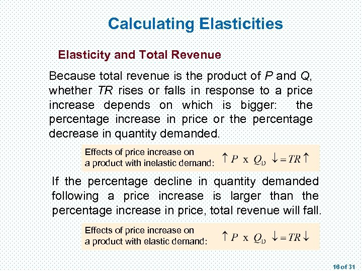 Calculating Elasticities Elasticity and Total Revenue Because total revenue is the product of P