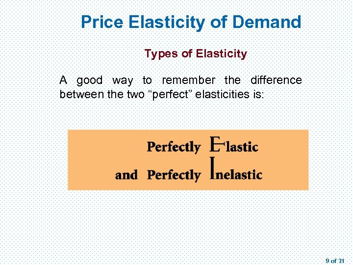 Price Elasticity of Demand Types of Elasticity A good way to remember the difference