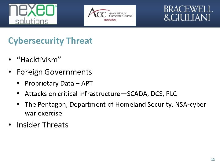 """Cybersecurity Threat • """"Hacktivism"""" • Foreign Governments • Proprietary Data – APT • Attacks"""